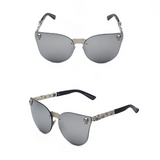 La Mia Cara - ST. TROPEZ SILVER- CAT EYE MODERN FLAT MIRROR LENS HORNED RIM SUNGLASSES UV400
