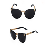 La Mia Cara - ST. TROPEZ BLACK - CAT EYE MODERN FLAT MIRROR LENS HORNED RIM SUNGLASSES UV400