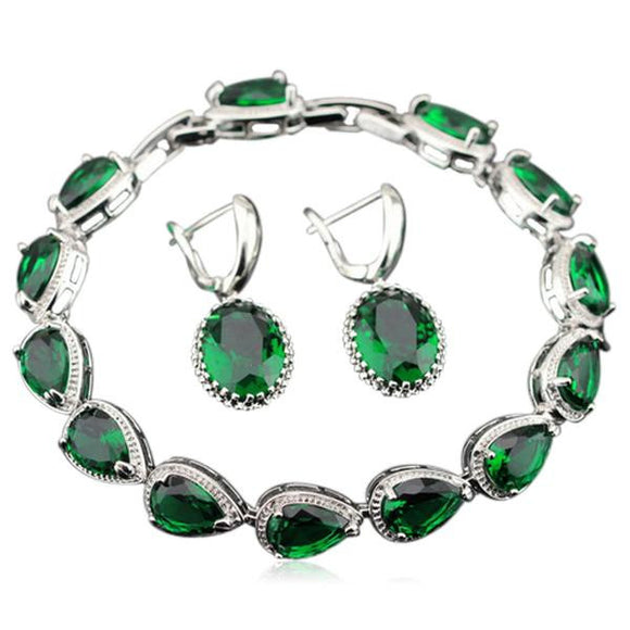 Taisija - Emerald Sterling Silver Earrings & Bracelet Set - LA MIA CARA JEWELRY - 1