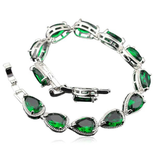 Taisija - Emerald Sterling Silver Earrings & Bracelet Set - LA MIA CARA JEWELRY - 2