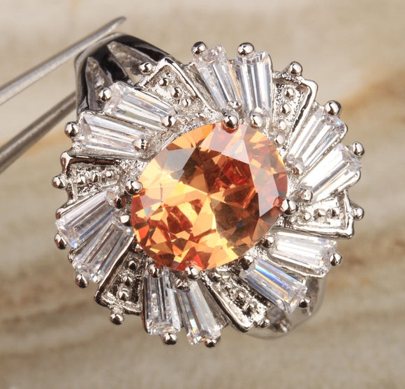 LA MIA CARA JEWELRY - COSMIC SUN - ORANGE TOPAZ RING IN 925 STERLING SILVER