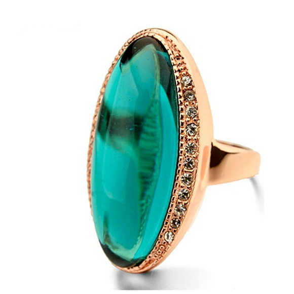 Cocktail Ring -Toscana Verde - Green Semi-Precious Stone & Swarovski Crystal Rose Gold Ring - LA MIA CARA JEWELRY