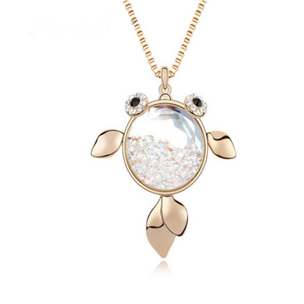 Trova Nemo - Nemo Gold & Crystal Rhinestone Pendant  Long Chain Necklace - LA MIA CARA JEWELRY - 2
