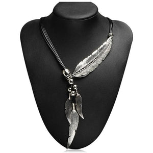 Valentina - Black Rope  Rhinestone Crystal Gold or Silver Feather Statement Necklace - LA MIA CARA JEWELRY - 2