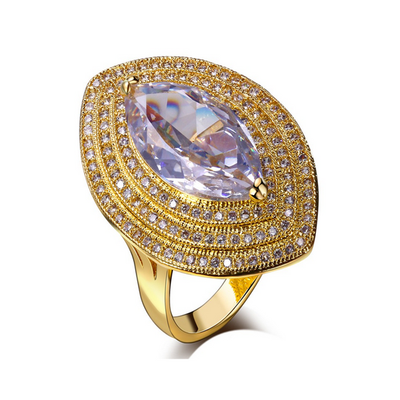 Statement Ring - Venice - CZ Diamond Gold Ring - La Mia Cara Jewelry