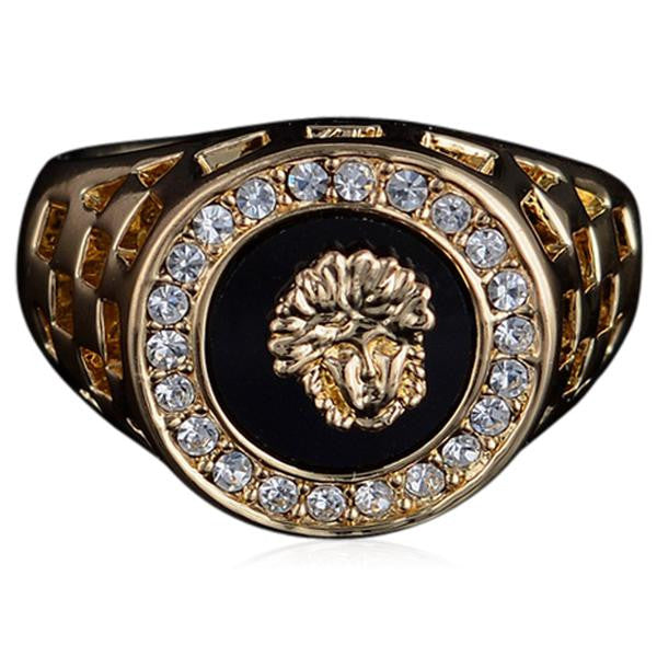 Versace Signe Crystal Gold Ring Men S Jewelry