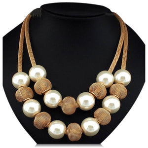 Viviana - White Pearls & Metal Balls Boho Statement Necklace - LA MIA CARA JEWELRY - 1