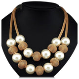Viviana - White Pearls & Metal Balls Boho Statement Necklace - LA MIA CARA JEWELRY - 3