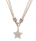 Wilma - Rhinestone Gold Silver Long Chain Necklace - LA MIA CARA JEWELRY - 8