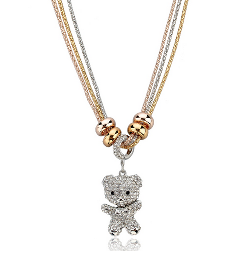 Wilma - Rhinestone Gold Silver Long Chain Necklace - LA MIA CARA JEWELRY - 7