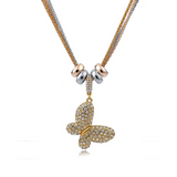 Wilma - Rhinestone Gold Silver Long Chain Necklace - LA MIA CARA JEWELRY - 10
