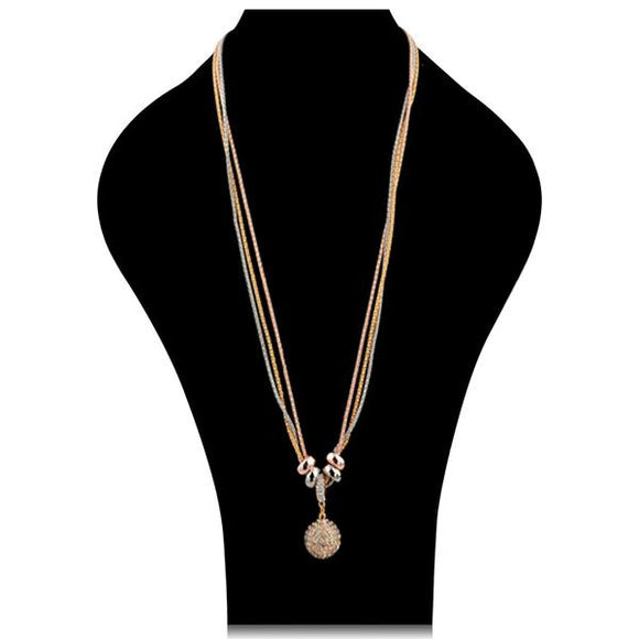 Wilma - Rhinestone Gold Silver Long Chain Necklace - LA MIA CARA JEWELRY - 1