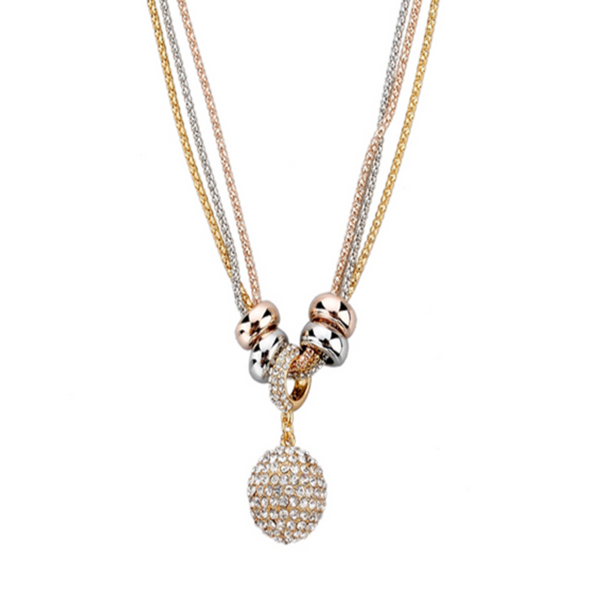 Wilma - Rhinestone Gold Silver Long Chain Necklace - LA MIA CARA JEWELRY - 5
