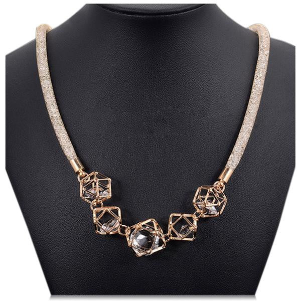 Zarah - Stardust Crystal Pendants Gold Statement Necklace - LA MIA CARA JEWELRY - 1
