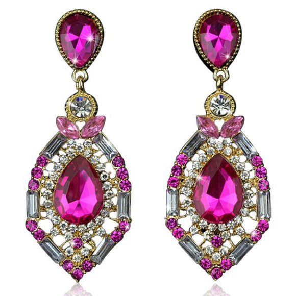 Zölestine - Rhinestone Crystal Water Drop Earrings - LA MIA CARA JEWELRY - 3