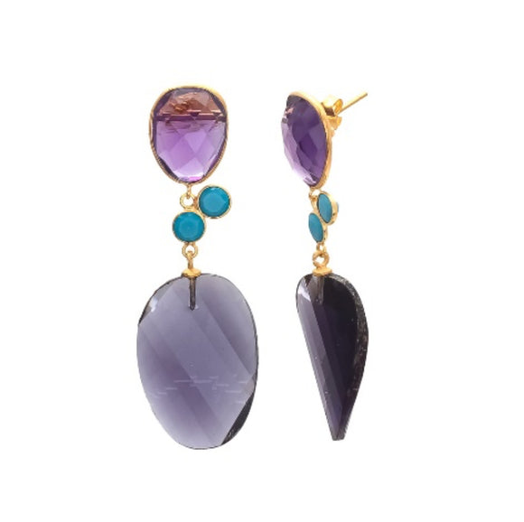 La Mia Cara Jewelry & Accessories - Echo - Hydro Gemstone-Amethyst & Turquoise Drop Earring