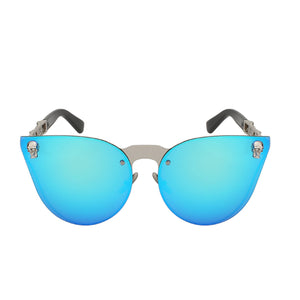 La Mia Cara - ST. TROPEZ BLUE - CAT EYE MODERN FLAT MIRROR LENS HORNED RIM SUNGLASSES UV400
