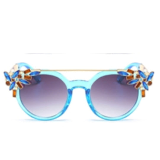 La Mia Cara Jewelry -Tampa Blue - Flat Top Cat Eye Pattern with Flower Rhinestone Decoration Sunglasses