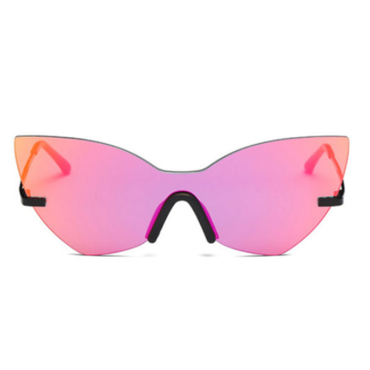 La Mia Cara - Los Angeles Pink - Cat Eye Rimless Shades Oversized Mirror Sun Glasses for Women