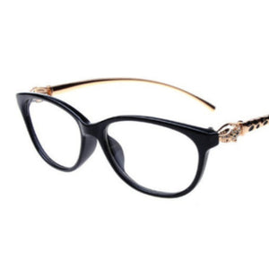 La Mia Cara  - Firenze Black - Cat Eye Reading Glasses with Elegant Golden Leopard Frame
