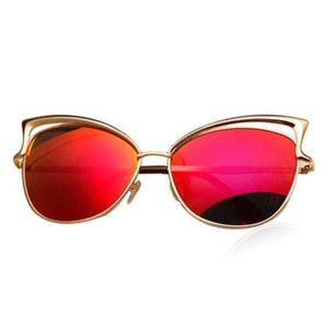 La Mia Cara - Melbourne Red - Classic Vintage Mirror Retro Cat Eye Sunglasses
