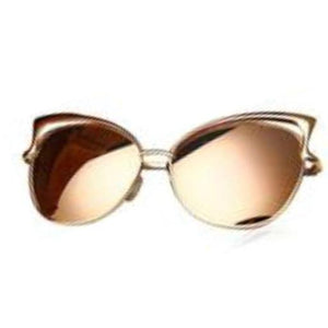 La Mia Cara - Melbourne Gold Pink - Classic Vintage Mirror Retro Cat Eye Sunglasses