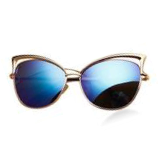 La Mia Cara - Melbourne Blue - Classic Vintage Mirror Retro Cat Eye Sunglasses