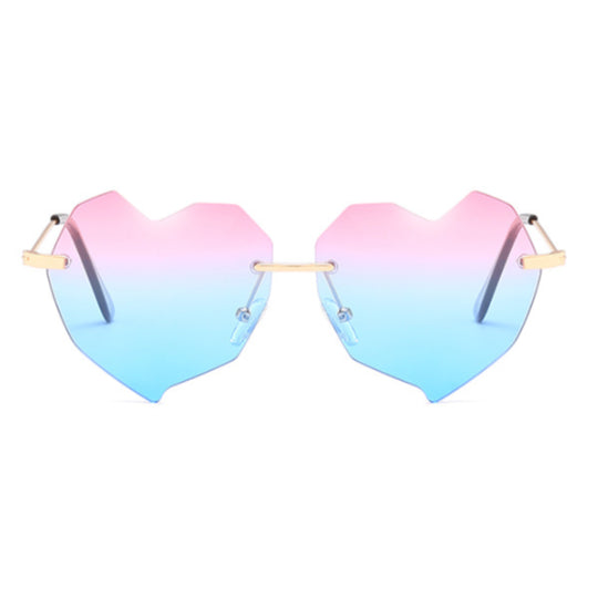 LA MIA CARA - SINGAPORE - PINK BLUE HEART SHAPE CAT EYE - WOMEN'S OVERSIZED SUNGLASSES
