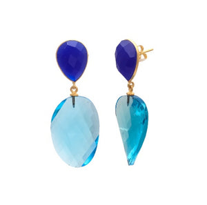 Anjali - Gemstone-Blue Topaz Hydro & Blue Chalcedony  Drop Earring