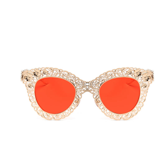 La Mia Cara Jewelry - MADRID RED - CAT EYE METAL LACE CUT FASHION SUNGLASSE