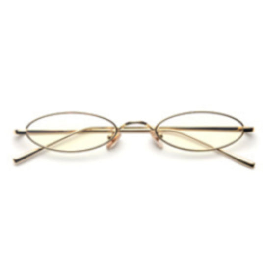La Mia Cara - Rimini - Clear/Gold Small Slim Oval Retro Glasses
