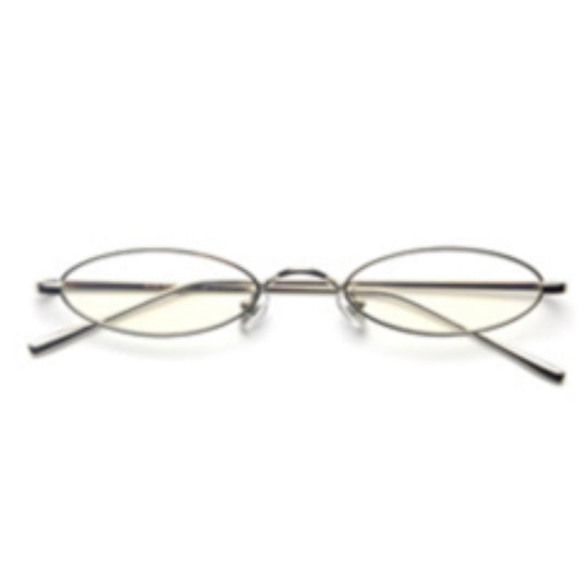 La Mia Cara - Rimini - Clear/Silver Small Slim Oval Retro Glasses
