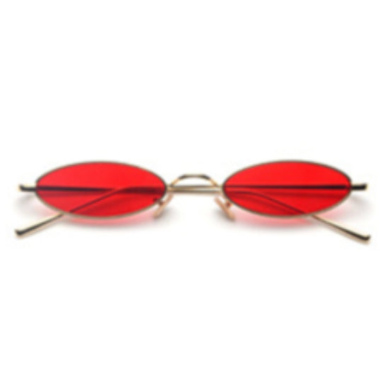 La Mia Cara - Rimini - Red Small Slim Oval Retro Sun Glasses