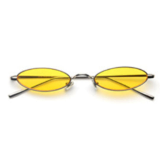La Mia Cara - Rimini - Yellow Small Slim Oval Retro Sun Glasses