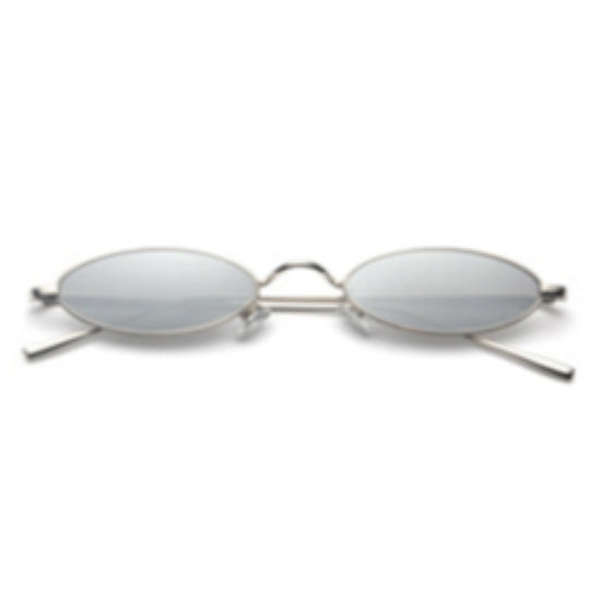 La Mia Cara - Rimini - Silver Small Slim Oval Retro Sun Glasses