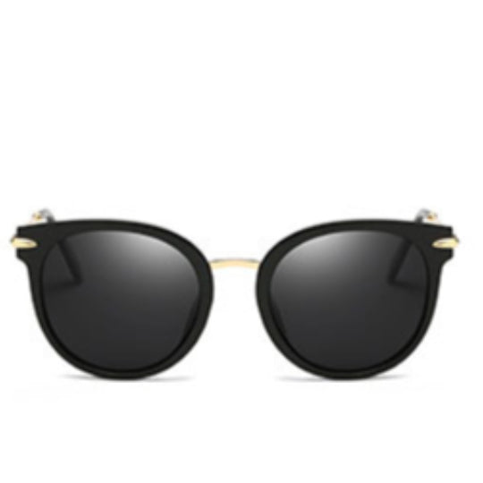 La Mia Cara - Verona - Black Oversize Flat Infinitive Polarized Lens Cat Eye Sunglasses