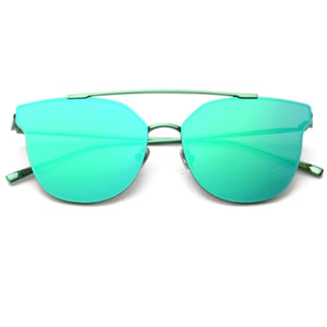 La Mia Cara  - AREZZO GREEN - PREMIUM LASER CUT MIRRORED FLAT LENS CAT EYE