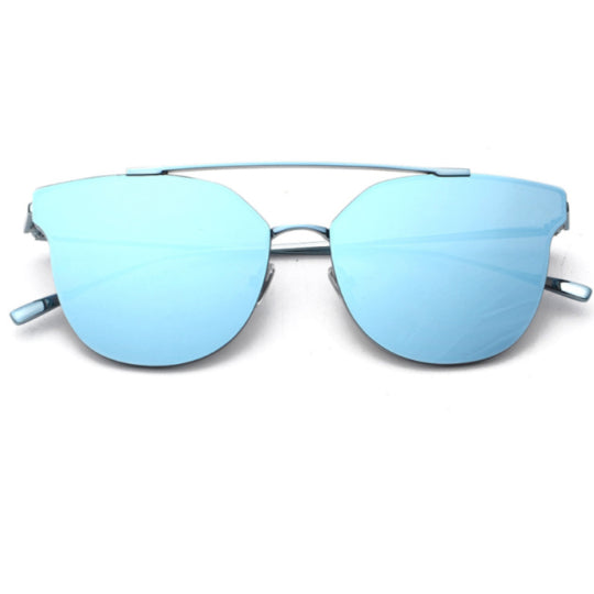 La Mia Cara  - AREZZO BLUE - PREMIUM LASER CUT MIRRORED FLAT LENS CAT EYE