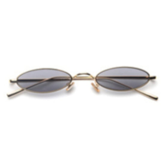 La Mia Cara - Rimini - Black Small Slim Oval Retro Sun Glasses