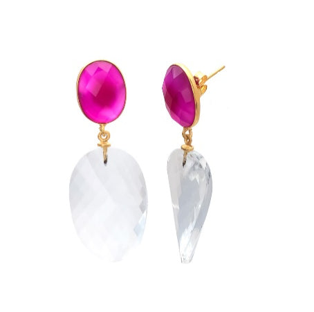 Mira - Gemstone-Crystal Quartz & Fuchsia Chalcedony  Drop Earring