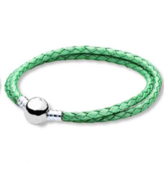 Orso- Green Leather with Silver Clip Pandora Style Bracelet