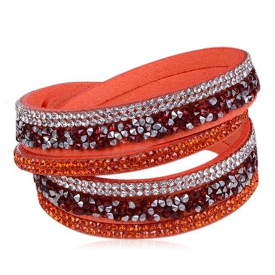 Istaphania Orange - Fashionableble Colorful Leather and Crystal Bracelet