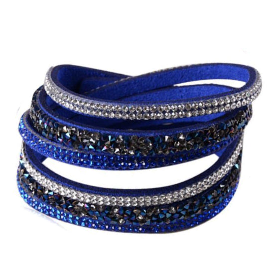 Istaphania Royal Blue -  Fashionableble Colorful Leather and Crystal Bracelet