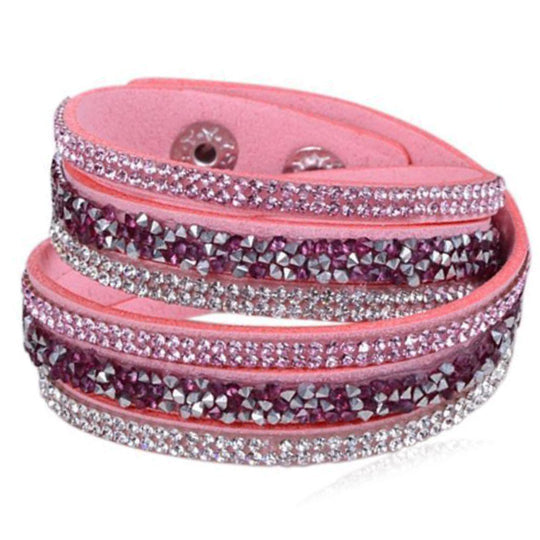 La Mia Cara - Istaphania Rose - Fashionableble Colorful Leather and Crystal Bracelet