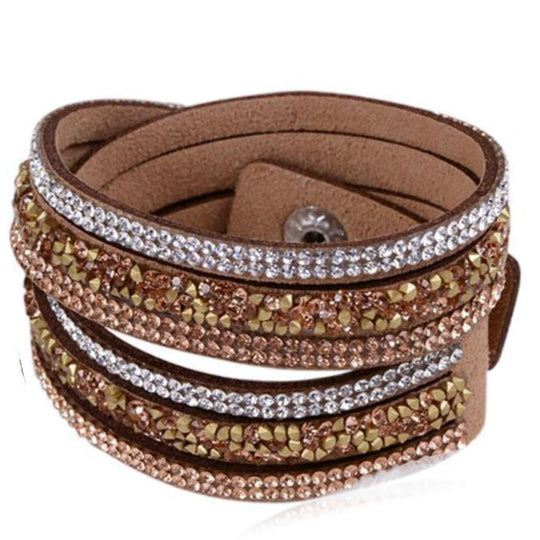 La Mia Cara - Istaphania Brown - Fashionableble Colorful Leather and Crystal Bracelet