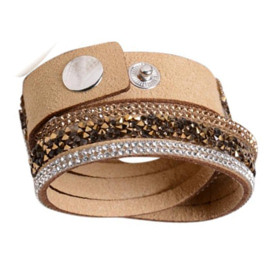 Istaphania Beige -  Fashionableble Colorful Leather and Crystal Bracelet