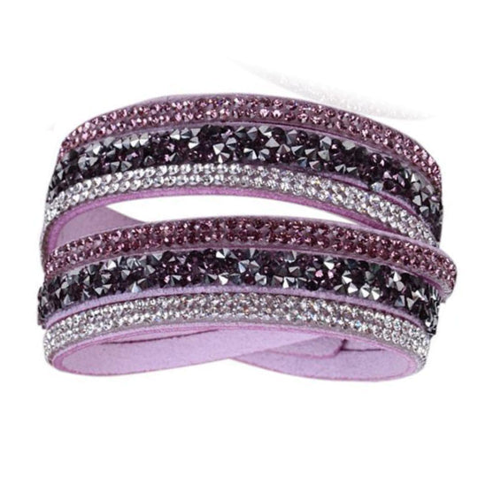 La Mia Cara - Istaphania Purple - Fashionableble Colorful Leather and Crystal Bracelet