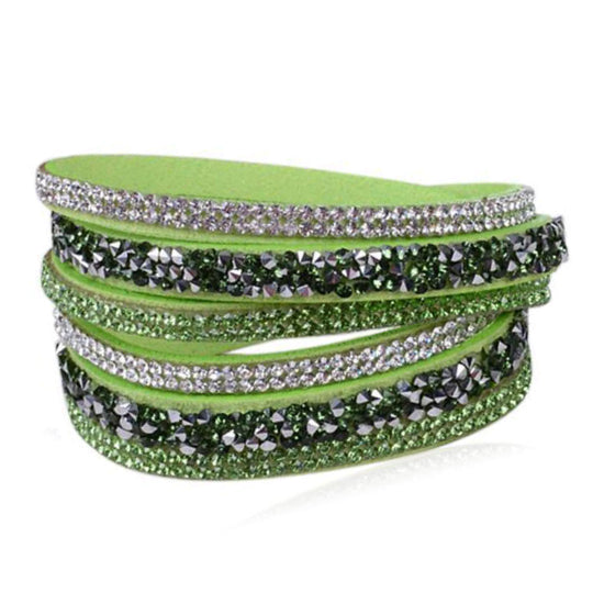 La Mia Cara - Istaphania Green - Fashionableble Colorful Leather and Crystal Bracelet