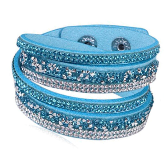 La Mia Cara - Istaphania Sky Blue - Fashionableble Colorful Leather and Crystal Bracelet