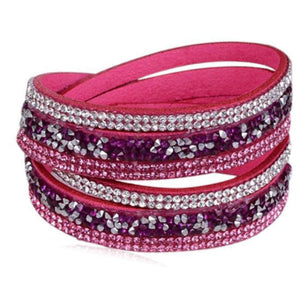 La Mia Cara - Istaphania Pink - Fashionableble Colorful Leather and Crystal Bracelet